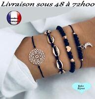 Ensemble 4 Bracelets femme Chaîne Bijoux Bohème Boho Vintage doré Réglable   W8