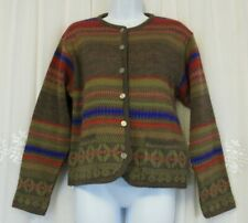 Vintage Tally Ho Womens S Aztec Metal Button Pockets Cardigan MultiColor EUC