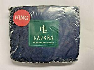 NEW Ralph Lauren KING Extra Deep Fitted Sheet DARK BLUE WITH SWIRLS Sateen TC280