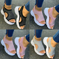 Womens Ladies Fashion Casual Daily Crystal Platform Sport Sandals Shoes AU