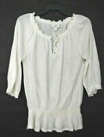 Ann Taylor Loft Womens White Scoop Neck Elastic Cuff 3/4 Sleeve Linen Shirt S