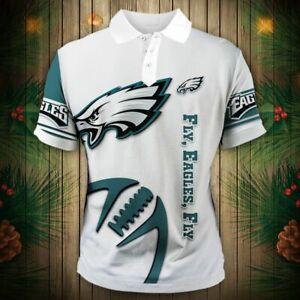 Philadelphia Eagles Men's Summer T-Shirt Button-Up Sports Tee Top Shirt Fan Gift