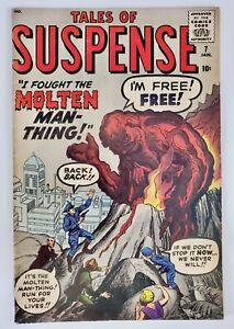 1960 Marvel Comic Book Tales Of Suspense #7 Molten Man Thing Kirby Ditko Lee VG+