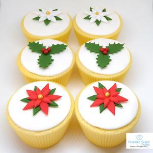 Mixed Sugar Poinsettias & Holly Edible Christmas Cake Cupcake topper Decoration
