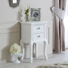 Ornate white bedside lamp table vintage French shabby chic bedroom furniture