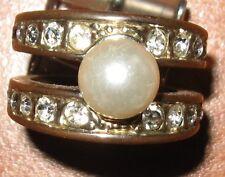 Anello fascia dorato con perla e strass - Bijotteria Vintage