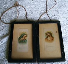 """Mater   Dolorosa    &   Ecce   Homo  1930's   Framed  Pictures  7 """" By 4"""" Inches"""
