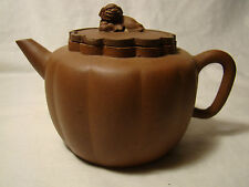 Old Yixing Teapot & Cover Chrysanthemum Floret Shape With Lion Dog & Ball Finial