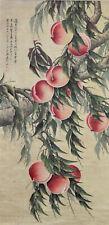 Superb Chinese Watercolor PEACH TREE Hanging Scroll Painting - Zhang Daqian