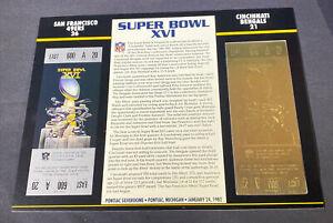 Willabee & Ward 22kt Gold Super Bowl Tickets Super Bowl XVI