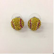 Softball stud earrings/ handmade/silver plated
