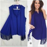 Chicos 3 Top Womens  Size XL - 1X Fringe Blouse Sleeveless Boho shirt Blue