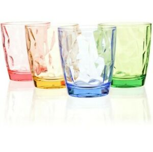 4✘ 300ml Colored Plastic Cups Tumblers Water Reusable Acrylic Drinking Glasses