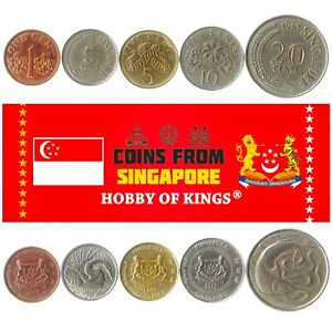 5 DIFFERENT COINS FROM SINGAPORE. COLLECTIBLE MONEY FROM ASIA. FOREIGN CURRENCY