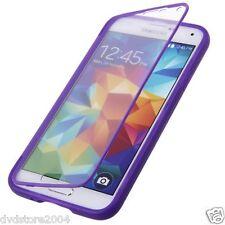 Custodia WALLET Cover VIOLA FRONTE TRASPARENTE per Samsung Galaxy S5 I9600