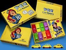 PEZ CARBOX WERBE SCHACHTEL1996 incl. 8 PEZ CARS VW KÄFER 70s - VINTAGE PEZ BOX
