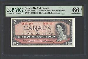 Canada 2 Dollars 1954 BC-38b Uncirculated Grade 66