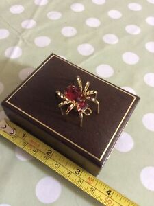 Vintage Spider Brooch Red Glass Body Missing A Few Stones Gilt