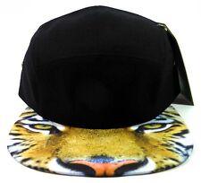 TIGER EYES FACE 5 PANEL CAMPER STRAPBACK HAT CAP BLACK SUBLIMATED BILL SNAPBACK