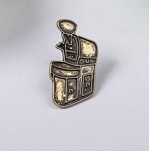 Bronze Barista Cafe Geek Coffee Bean Roasting Machine Roaster Pin Brooch Badge