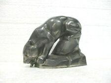 """Statuette en régule : """" Panthère lapant de l'eau """""""
