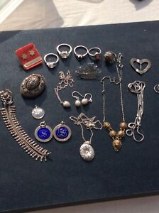 Job Lot 925 Old Silver Hallmarked Mixed Jewellery Items Resale No Scrap 113g No2