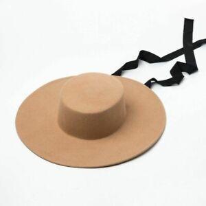Wide Brim Felt Hat Flat Top wool Boater Ribbon Lace Up Hat Chin Strap Fashion