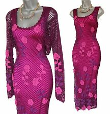 KAREN MILLEN Purple Pink 20s VTG Style Gatsby 3D Flowers Crochet Dress Shrug 1