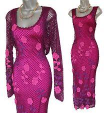 KAREN MILLEN Purple Pink 20s VTG Style Gatsby 3D Flowers Crochet Dress Shrug 1
