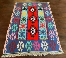 """Handmade Teal, Red and Pink Kilim 3'10"""" x 5'7"""""""