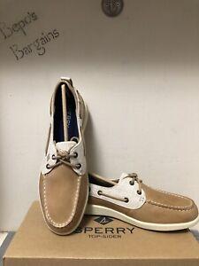New In Box Sperry Top Sider Oasis Dock Linen Oat Boat Shoes Women's Size 8.5