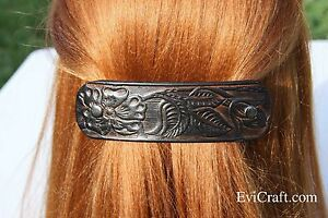 Large vegetable tanned Leather French hair barrette, black Leather Hair clip