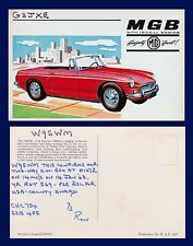 UK AUTOMOTIVE MGB 1800 PROMOTIONAL POSTCARD USED AS QSL CARD 1968