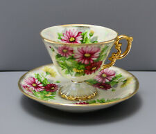 UCAGCO JAPAN  FOOTED CUP & SAUCER HAND PAINTED SEPT ASTERS GILDED & STICKER