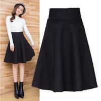 Koreaqn Womens High Waist Pleated Flared A Line Dress Knee Length Skirt Casual T