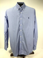 POLO RALPH LAUREN DRESS Button Down SHIRT XL BLUE/WHITE Checkered long sleeve