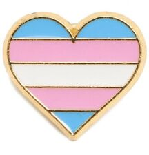 NEW! Transgender Flag Pride Single Pin Striped Heart - Transgender LGBTQ Ally