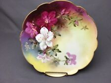"""Haviland Limoges 9&1/4"""" Scalloped Plate Fuchsia Pink White Lilies Artist Signed"""