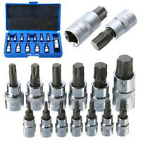 "13Pcs Tamper Proof Torx Star Bit Socket Kit Set 1/4"" 3/8"" 1/2"" Drive With Case"