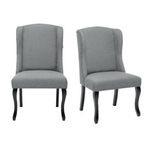 Retro Chesterfield 2X Dining Chair Wingback Kitchen Queen Anne Leg Chairs Fabric