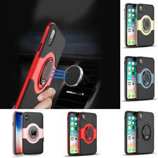 Hybrid Car Holder Magnetic Ring Stand Leather Back Case Cover For Samsung iPhone