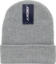 Light Grey Ribbed Watch Cap Beanie Knit Winter Hat  Stretch Snowmobile Ski Decky