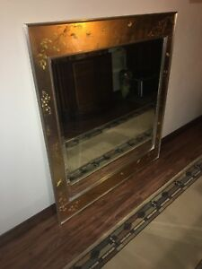 LABARGE Chinoiserie Reverse Painted Mirror 38 By 42 Inch