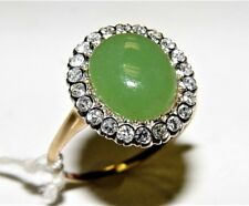 Ring 14K gold 17.2X15.8Mm Size-10 Vintage 1950's 0.65Ct Diamond & Jade
