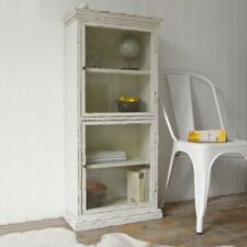 Portobello Glass Cabinet | Distressed Vintage Finish | White / Antique