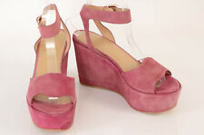 Stuart Weitzman dark pink 7 suede platform ankle strap sandal shoe NEW $445