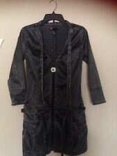 Diesel Jeans  Leather look Biker Mini Dress M black/grey long sleeve worn once