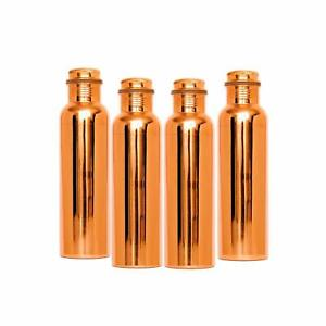 Combo Pack of 4 Genuine Copper Water Bottle Joint-less 1000 ml