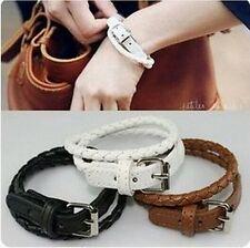 #3040 New leather PUNK rivets buckle Couple Bracelet