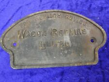 #5 Original 1950s? Cast Iron Wagon/Railway Plate/Sign Repairs